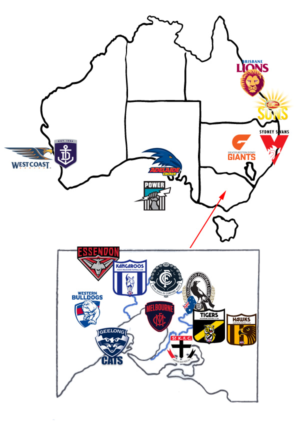 afl teams map